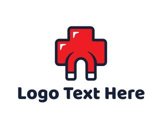 Biotech - Red Cross Medical Medicine Magnet logo design