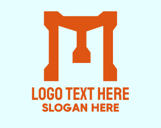 Construction - Bold Orange Letter M  logo design