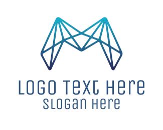 Connection - Blue Connectivity Letter M logo design