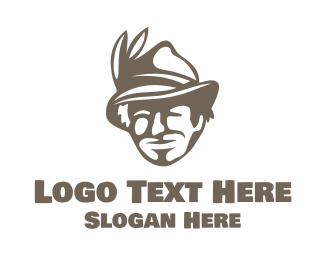 Brown Man - Feather Hat Man logo design