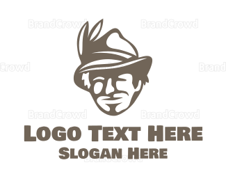 Detective - Feather Hat Man logo design