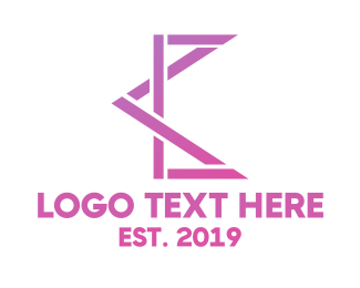 Angle - Pink Geometric C logo design