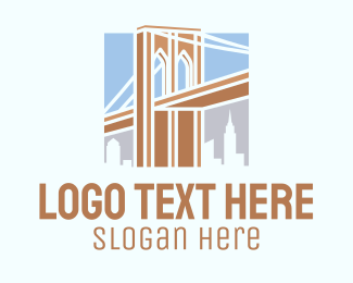 Infrastracture - Brooklyn Bridge Landmark logo design