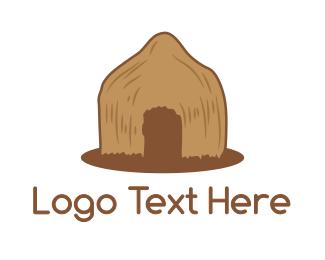 Zulu - Brown Primitive Hut logo design