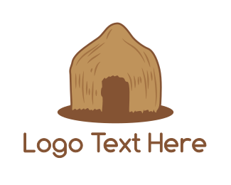 Hut - Brown Primitive Hut logo design