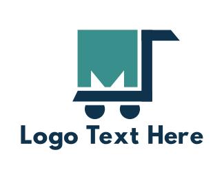 Supermarket - Trolley Letter M logo design