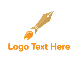 Pr - Rocket Launch Pen logo design