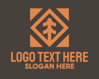 Conifer - Orange Conifer Plant Badge logo design