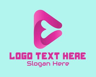 Online Game - Heart Play Button logo design