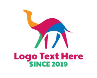 Archaeology - Colorful Camel Stroke logo design