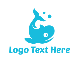 Sperm Whale - Blue Bubble Whale logo design