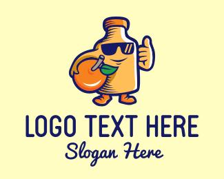 Refreshing - Orange Juice Bottle Cartoon logo design