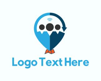 Interview - Map Pin logo design