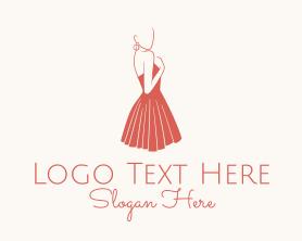 Maiden - Lady Red Dress Fashion logo design