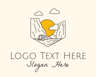 Motel - Trailer Van Sunset Valley logo design