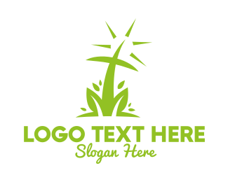Bible Study - Abstract Nature Cross logo design