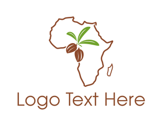 Africa Map - African Almonds logo design