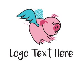 Pork - Flying Pig logo design