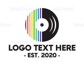 Cd - Colorful Vinyl Stripes logo design