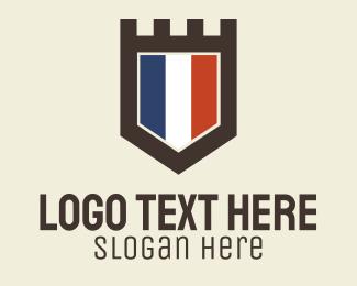 French - French Flag Crest logo design