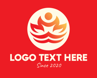 Yoga Wellness Fire Logo Maker