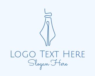 Academic - Blue Pen Draw Write logo design