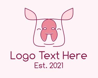 Pork - Cute Pork Piglet logo design
