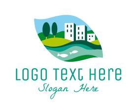 Town - Riverside Town logo design