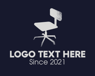 Work From Home - Gray Rustic Office Chair  logo design