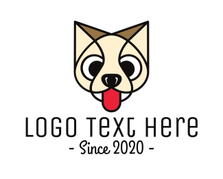 Beige - Beige Thirsty Animal Puppy Outline logo design