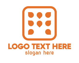 Dotted - Orange Dot M logo design
