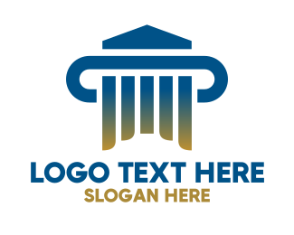 Court House - Modern Gradient Pillar House logo design
