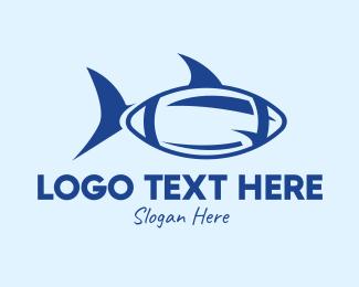 Team Mascot - Blue Football Shark logo design