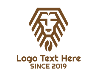 Line Art - Geometric Lion Cafe logo design