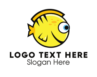 Yellow - Round Yellow Fish logo design