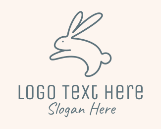 Egg Hunting - Jumping Bunny Monoline logo design