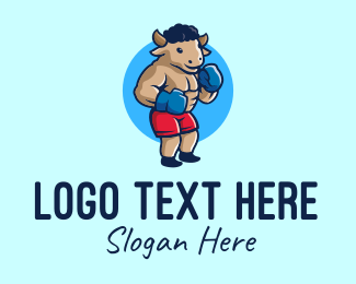 Trainer - Bull Boxing Fighter logo design