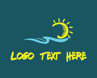 Hawaii - Ocean & Sun logo design