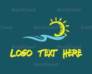 Flow - Ocean & Sun logo design