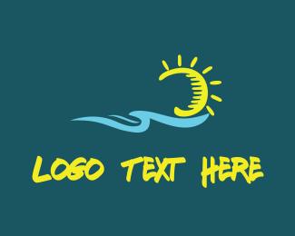 Beach - Ocean & Sun logo design