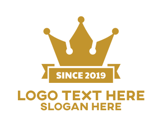 Banner - Gold Banner Crown logo design