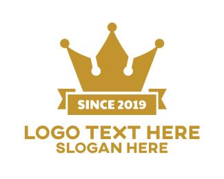 Gold - Gold Banner Crown logo design
