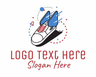 Blue Rocket - Cool Sneaker Shoe Fashion logo design