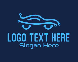 Drive - Electric Blue Car Technology logo design