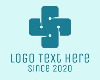 Drugmaker - Medical Technology Circuit Cross logo design