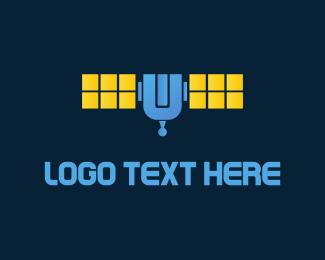 Space - Blue Satellite logo design