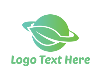 Saturn - Green Planet Leaf logo design