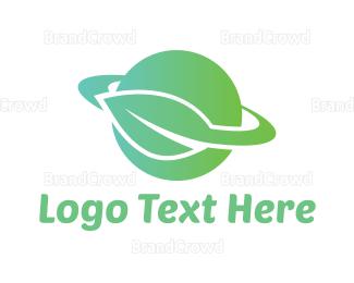 Planet - Green Planet Leaf logo design
