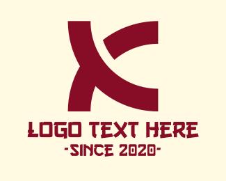 Noodle - Red Asian Letter K logo design