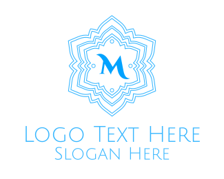 Blue Ice Cream - Frosty Snowflake Lettermark logo design